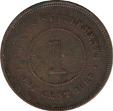 Straits Settlements: 1888 1 Cent VF20