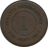 Straits Settlements: 1895 1 Cent VF30