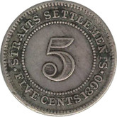 Straits Settlements: 1890H Silver 5 Cent VF20
