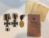 Germany: WWI & WWII Iron Cross Medals + Kyffhauser Medal + Paperwork