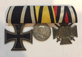 Germany: WWI Medal Trio: Wuerttemberg Iron Cross + Hindenburg Cross + Bravery and Loyalty Medal
