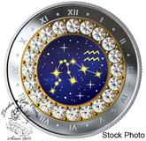 Canada: 2019 $5 Zodiac Series: Aquarius Pure Silver Coin with Swarovski Crystals