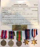Canada:  Group of Five: WWII Medals + Copy of Discharge Certificate