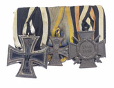 Germany: WWI Medal Trio: Iron Cross 2nd Class + Brunswick Service Medal + Hindenburg Cross