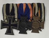 Germany: WWI Medal Trio: Iron Cross 2nd Class + Oldenburg War Service Cross + Hindenburg Cross