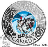 Canada: 2019 $3 Dogsledding: Celebrating Canadian Fun and Festivities Pure Silver Coloured Coin
