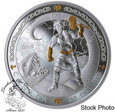 Canada: 2019 $20 Norse Gods: Thor 1 oz. Pure Silver Gold-Plated Coin