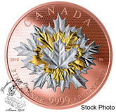 Canada: 2019 $50 Maple Leaves in Motion Pure Silver Gold Plated Coin