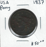 United States: 1837 1 Cent Penny