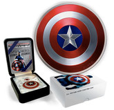 Fiji: 2016 $2 Captain America's Shield – 2 oz. Pure Silver Coloured Coin