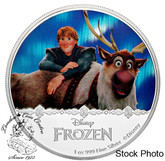 Niue: 2016 $2 Disney's Frozen Kristoff & Sven 1oz Pure Silver Coin