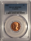 Canada: 1957 1 Cent PCGS MS65 Red