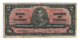Canada: 1937 $2 Bank Of Canada Banknote BC-22a Lot#5
