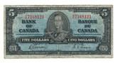 Canada: 1937 $5 Bank Of Canada Banknote BC-23b Lot#7