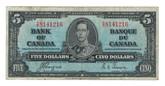 Canada: 1937 $5 Bank Of Canada Banknote BC-23b Lot#8