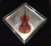 Niue: 2014 $1 Stradivarius Lady Blunt Violin with Real Wood Inlay RARE