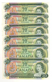Canada: 1969 $20 Banknotes Bank of Canada - 6 Notes in Sequence