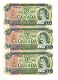 Canada: 1969 $20 Banknotes Bank of Canada - 3 in sequence
