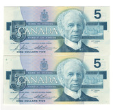 Canada: 1986 $5 Bank Of Canada Banknotes GPE - 2 Notes in Sequence
