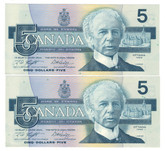 Canada: 1986 $5 Bank Of Canada Banknotes GPZ - 2 Notes in Sequence