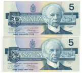 Canada: 1986 $5 Bank Of Canada Banknotes GPZ - 2 Notes in Sequence Lot#2
