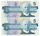 Canada: 1986 $5 Bank Of Canada Banknotes ANS - 2 Notes in Sequence