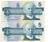 Canada: 1986 $5 Bank Of Canada Banknotes GPD - 2 Notes in Sequence