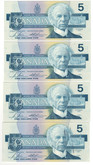 Canada: 1986 $5 Bank Of Canada Banknotes GOZ - 4 Notes in Sequence