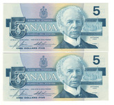 Canada: 1986 $5 Bank Of Canada Banknotes GOZ - 2 Notes in Sequence