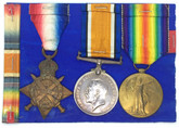 WWI Medal Group - 3 Medals - British War Medal, Allied Victory Medal, 1914-1915 Star Lot#2