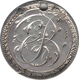 """Love Token: """"EB"""" on Victorian Canadian 10 Cent Host Coin"""