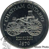 Canada: 1980 Chatham Ontario 1870 Hyslop and Ronald Steam Fire Engine Trade Dollar