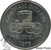 Canada: 1975 Chatham Ontario 1875 Milmers Carriage Works Top Auto Seat Trade Dollar