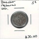 Canada: Bleecker Restaurant Ontario 5 Cent Token