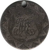 "Love Token: ""JHE"" On UK Victorian,  6 Pence Host Coin"