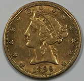 United States: 1899 s Gold Half Eagle $5 Coin
