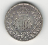 "Love Token: ""EMC"" On 1890 UK Victorian,  6 Pence Host Coin"