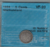 Canada: Newfoundland 1894 Silver 5 Cent CCCS VF20