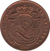 Belgium: 1907 Centime choice BU