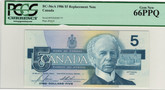Canada: 1986 $5 Bank Of Canada Replacement Banknote PMG MS66