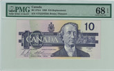 Canada: 1989 $10 Bank Of Canada Replacement Banknote PMG MS68
