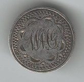 """Love Token: """"WMG"""" Lapel Button On US 1857 10 Cent & US 1852 3 Cent Host Coin"""