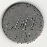 "Love Token: ""AMF 1886"" on Victorian Canadian 25 Cent Host Coin"