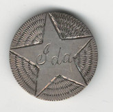"Love Token: ""IDA"" with Star Design On US 1853, 10 Cent Host Coin"