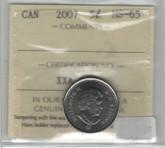 Canada: 2007 5 Cent ICCS MS65