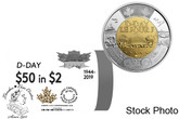 Canada: 2019 $2 Non-Coloured Special Wrap Roll: 75th Anniversary of D-Day