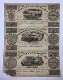 Lower Canada: 1837 Champlain & St. Lawrence Railroad Uncut Sheet