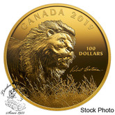 Canada: 2019 $100 Robert Bateman's Into the Light - Lion 10 oz. Pure Silver Gold-Plated Coin