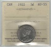 Canada: 1922 5 Cent ICCS AU55
