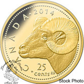 Canada: 2014 25 Cents Rocky Mountain Bighorn Sheep 0.5 gram Pure Gold